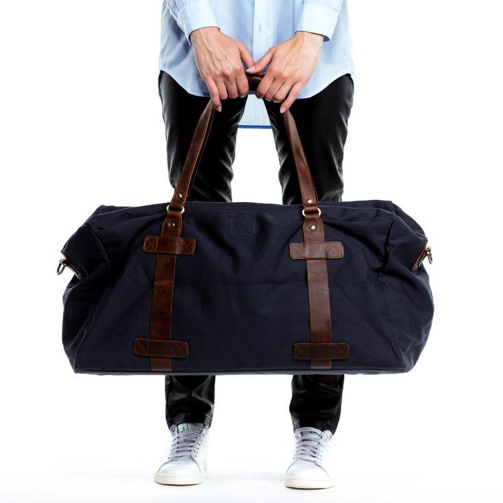 Reisetasche aus Leder und Canvas