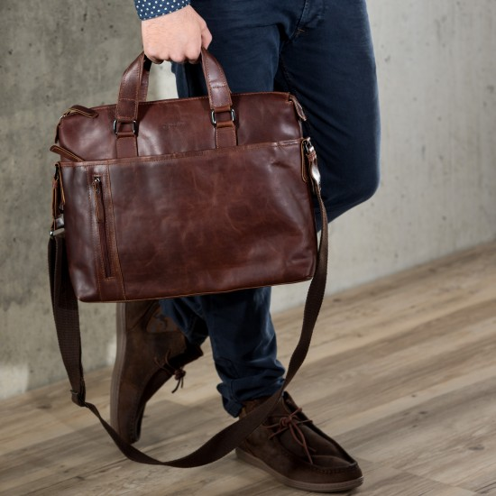 Businesstasche Laptoptasche Leandro in Leder